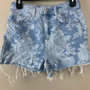 Top Shop | Moto Mom High Rise Floral Shorts